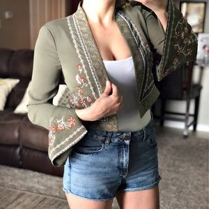 BCBG Olive Green Embroidered Jacket Size XS NWT